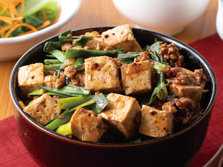 ニラ入り麻婆豆腐丼