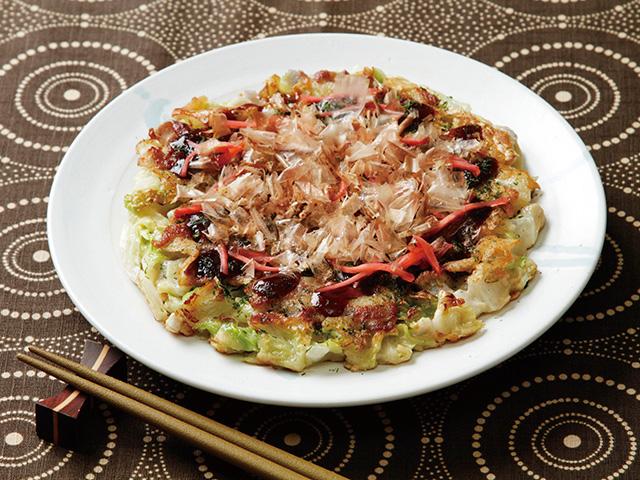 白菜とれんこんのお好み焼きの完成写真