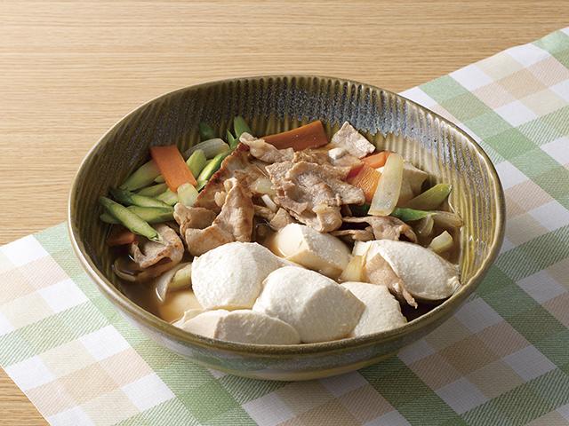 アスパラの肉豆腐の完成写真