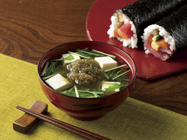 水菜と豆腐のすまし汁の完成写真