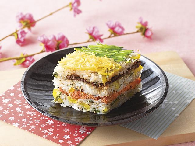 牛肉と焼鮭のひし型寿司の完成写真