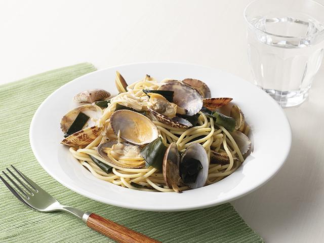 塩わかめとあさりのスパゲッティの完成写真