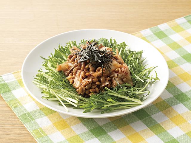 キムチと納豆のオリーブオイルかけの完成写真
