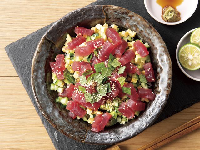 まぐろのチョップド海鮮丼の完成写真