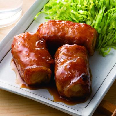 かさまし肉巻きの生姜焼き